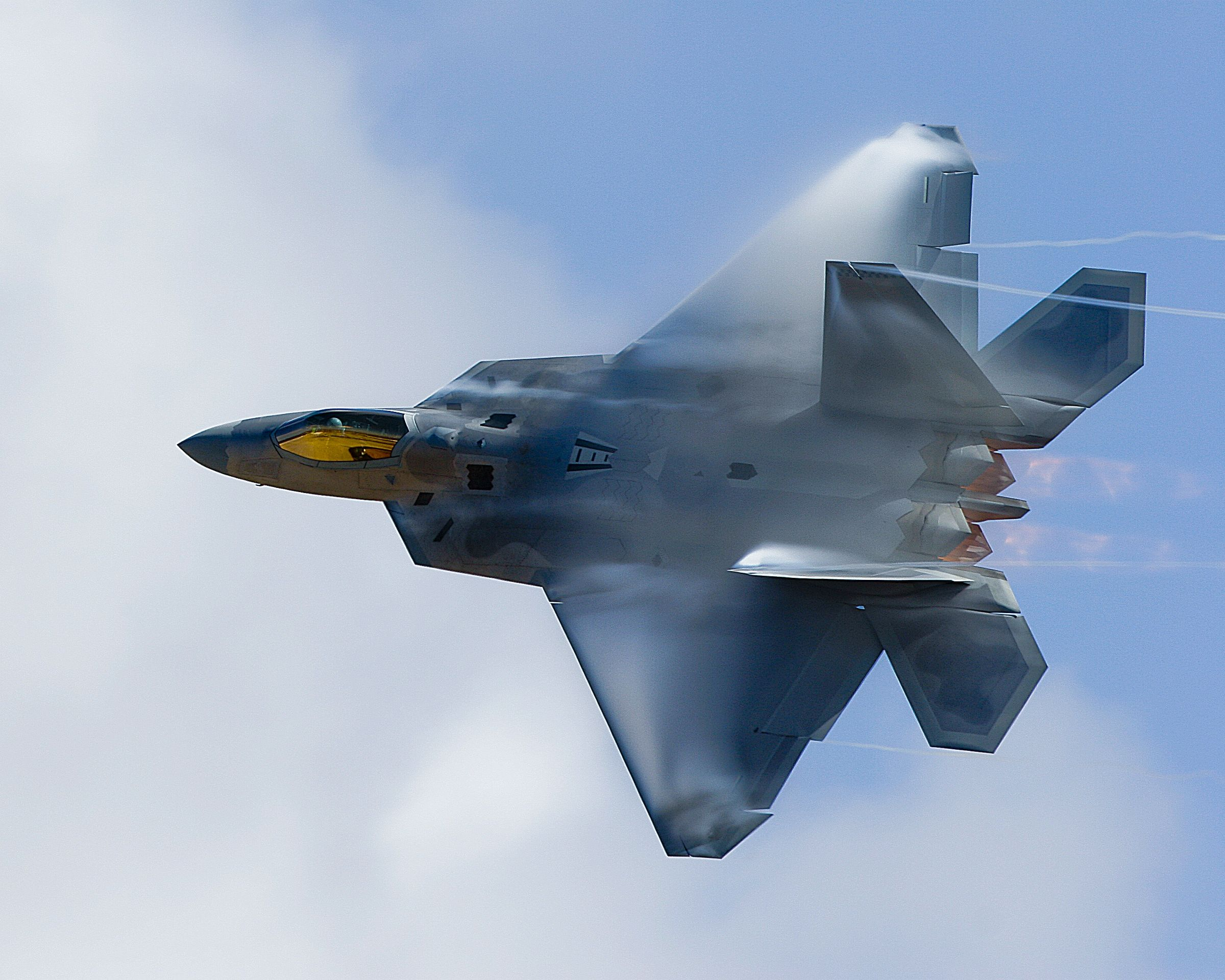 An F-22 Raptor aircraft performs a high-speed bank at the Marine Corps Community Services-sponsored annual air show Oct. 3 2008 at Marine Corps Air Station Miramar San Diego Calif. [2400  1920]