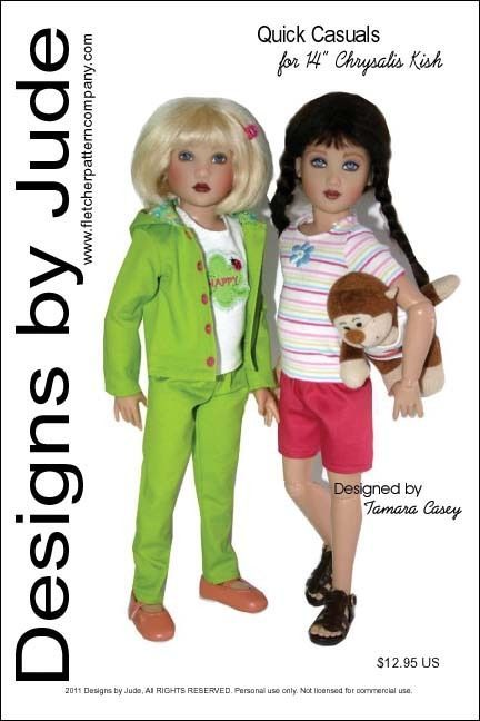 """Quick Casuals Doll Clothes Sewing Pattern for 14"""" Kish Dolls #DesignsbyJude"""