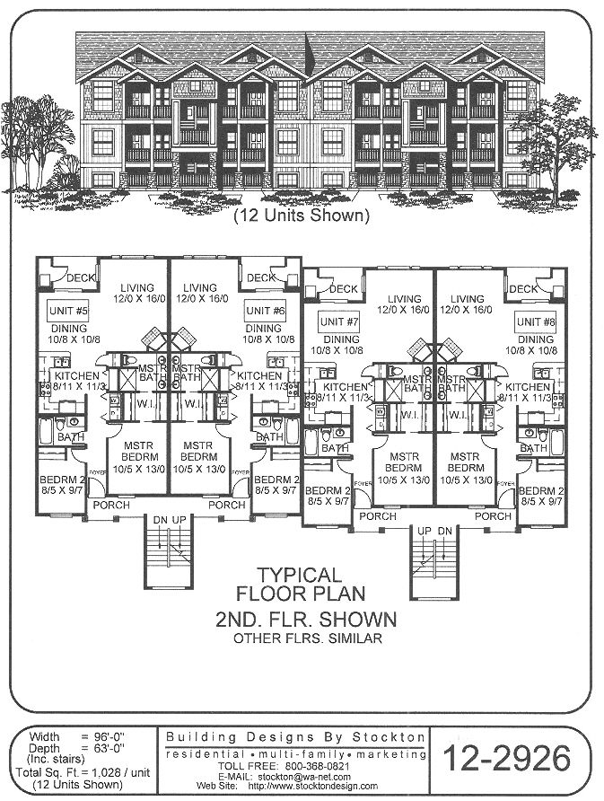 12 unit like the outside look 96x63 apartment house for 12 unit apartment plans