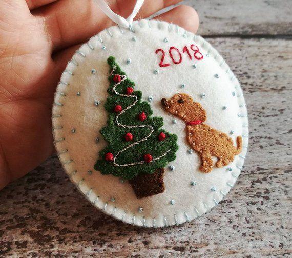 Puppy For Christmas 2020 Felt Christmas Puppy Ornament, Christmas tree ornament, Christmas