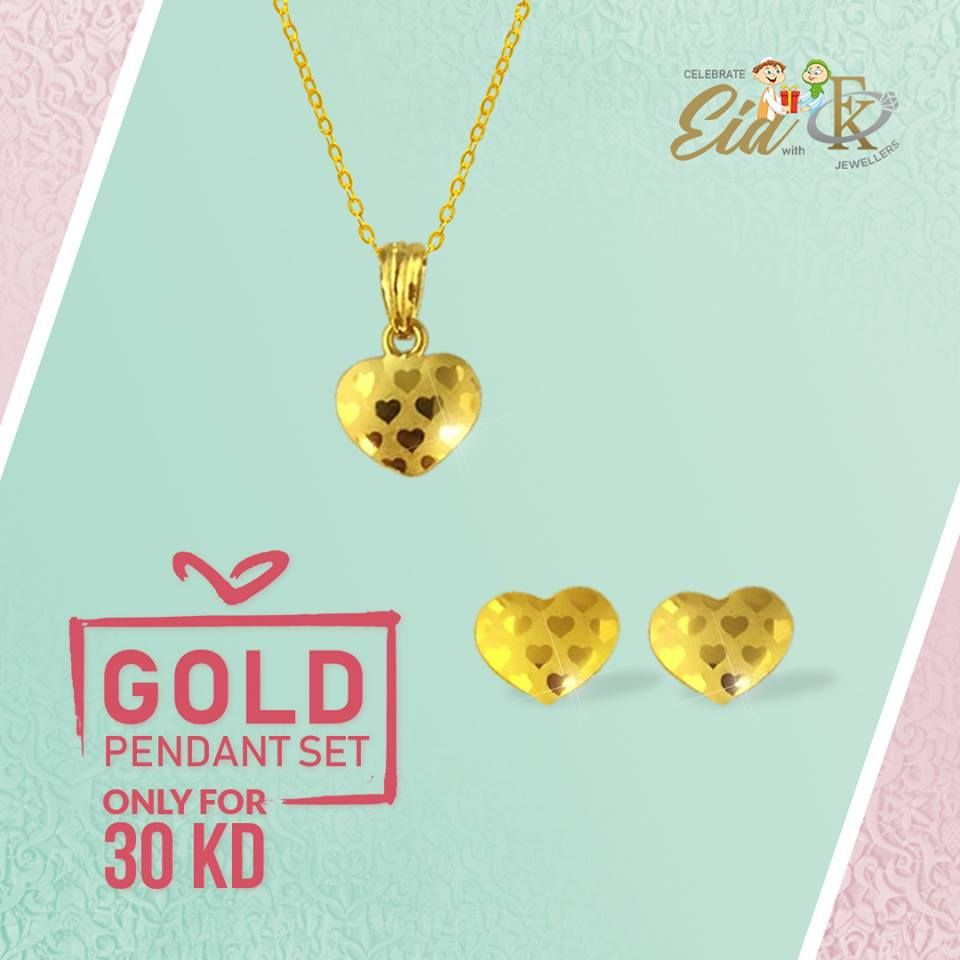 Buy and get extra kd discount on this beautiful gold pendant set