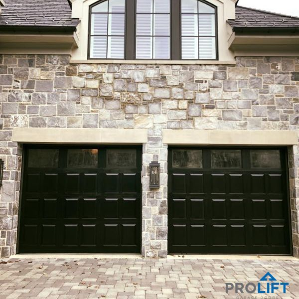 Custom, insulated wooden garage doors - painted black - with glacier glass. Need...,  ... Custom, insulated wooden garage doors - painted black - with glacier glass. Need...,