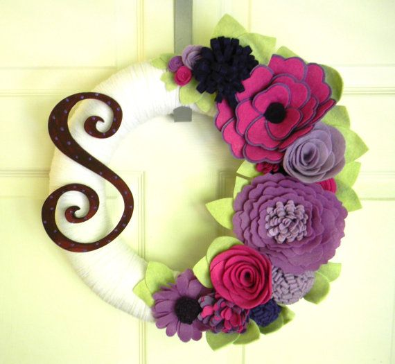 Radiant Orchid-Pantone's Color of the Year with Monogram : 14 inch Felt and Yarn Wreath on Etsy, $52.00