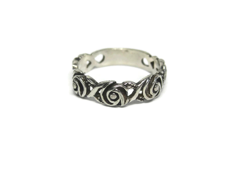 Vintage Sterling Rose Band Ring Size 6