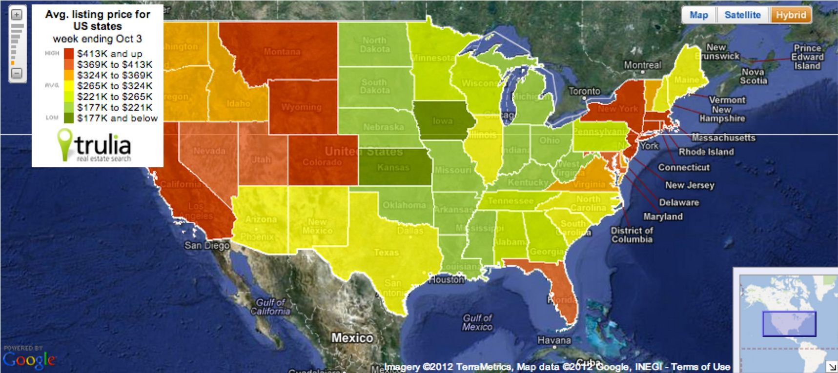 US Home Prices and USA Heat Map