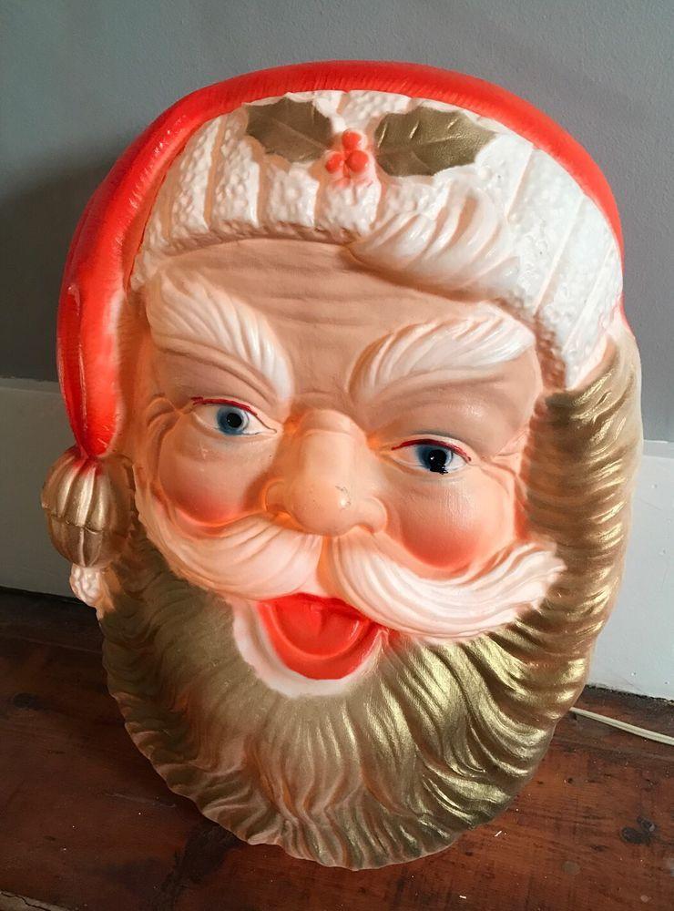 "Vtg 17"" Xmas Lighted Blow Mold Santa Head Face Wall Plastic Decoration Poloron  | eBay"