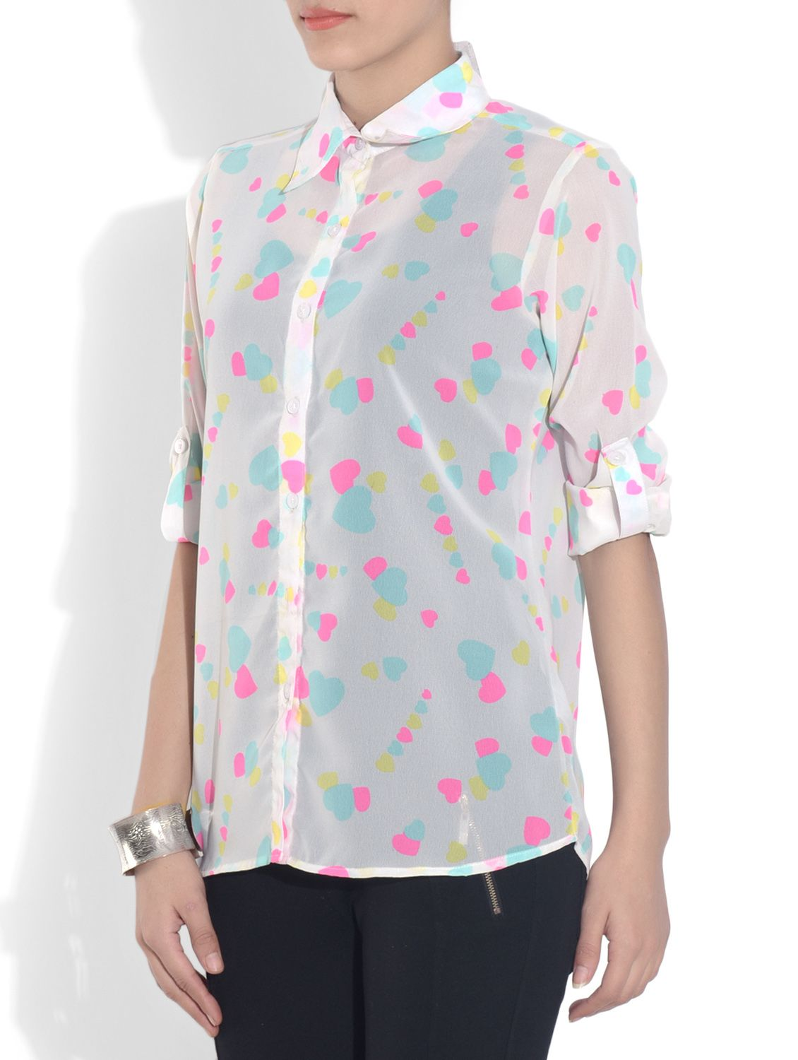 Off white printed georgette top