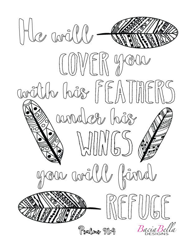 Zen Tangle Feathers Psalm 91 4 Adult Coloring Page He Will Cover