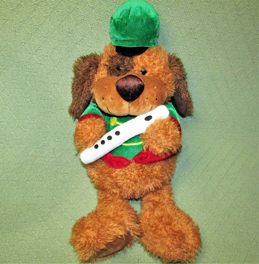 "22"" CHRISTMAS PUPPY Music Band Dog FLUTE Plush Stuffed"