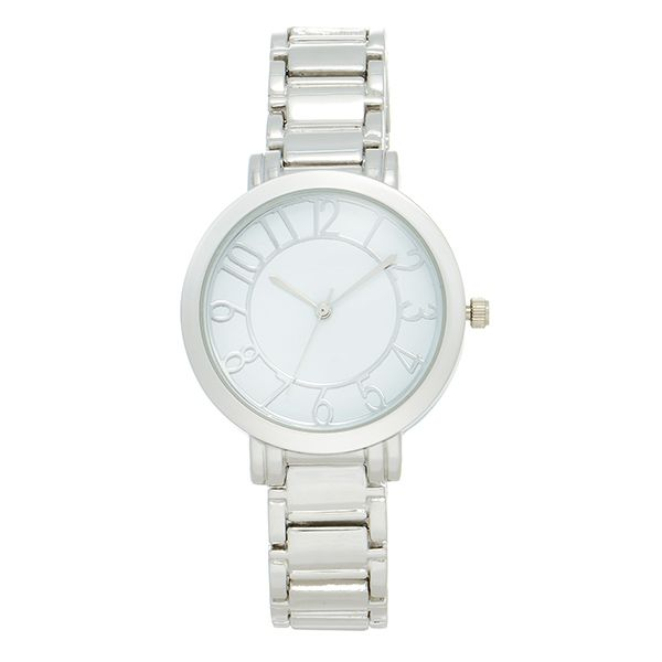 """Silver tone metal band watch featuring a 1 1/4"""" white plated watch face."""