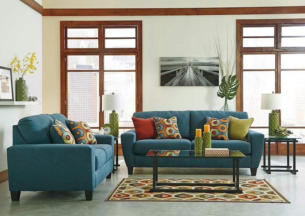 Sagen Teal Sofa and Loveseat Set item detailssinuous
