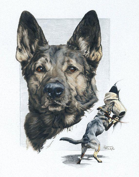 Print Of German Shepherd Police K9 Drawing Etsy In 2020 German Shepherd Artwork German Shepherd Art Police K9