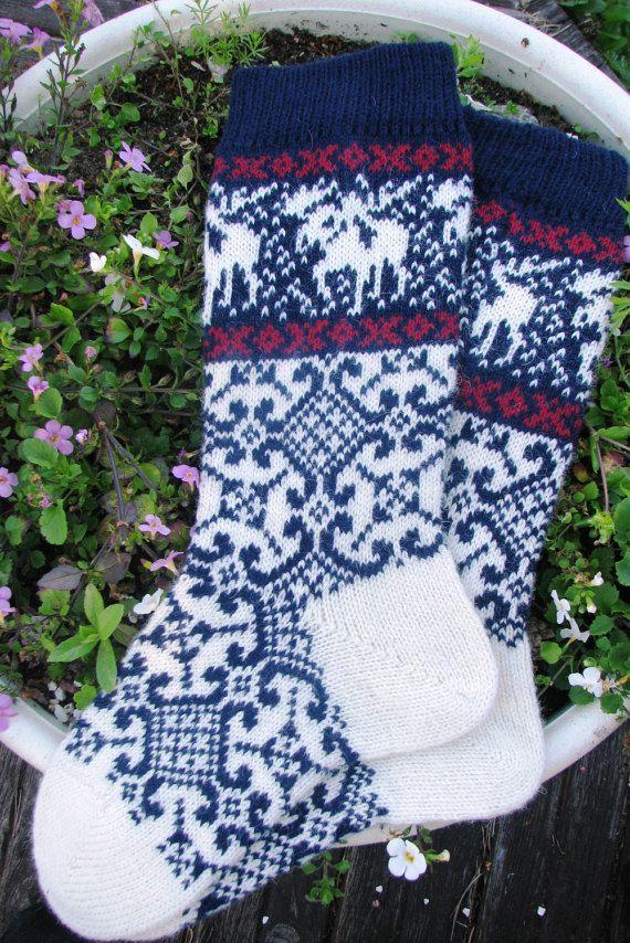 knit socks Wool socks knitted socks Norwegian socks Christmas socks ...