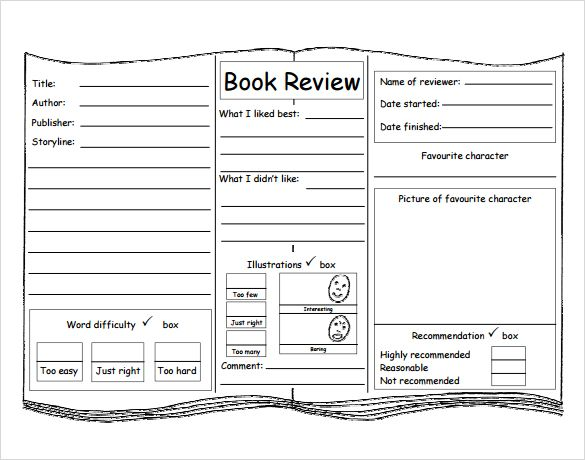 Book Review Template For Kids   Pinteres