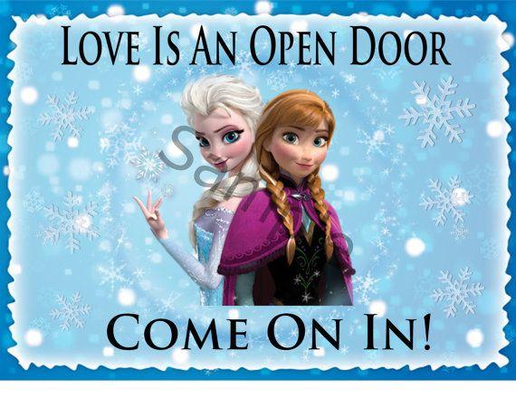 Love Is An Open Door Sign Digital Download Printable Frozen Etsy In 2020 Frozen Party Decorations Door Signs Frozen Birthday Party