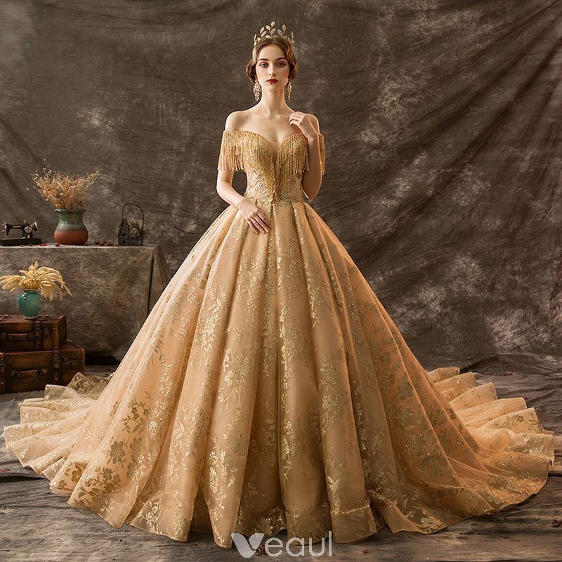 Luxury Gorgeous Gold Wedding Dresses 2019 Ball Gown Off The Shoulder Beading Tassel Lace Flower Sequins Short Sleeve Backless Royal Train Ball Dresses Gold Wedding Gowns Gowns Dresses
