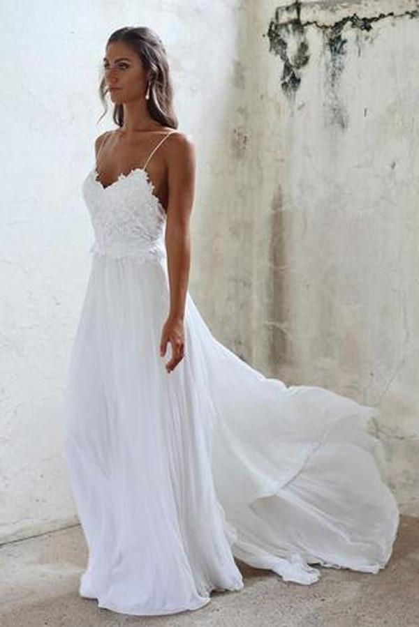 f33bdeead1c White Spaghetti Straps Long Chiffon Backless Lace A-line Beach Wedding  Dresses Z0164
