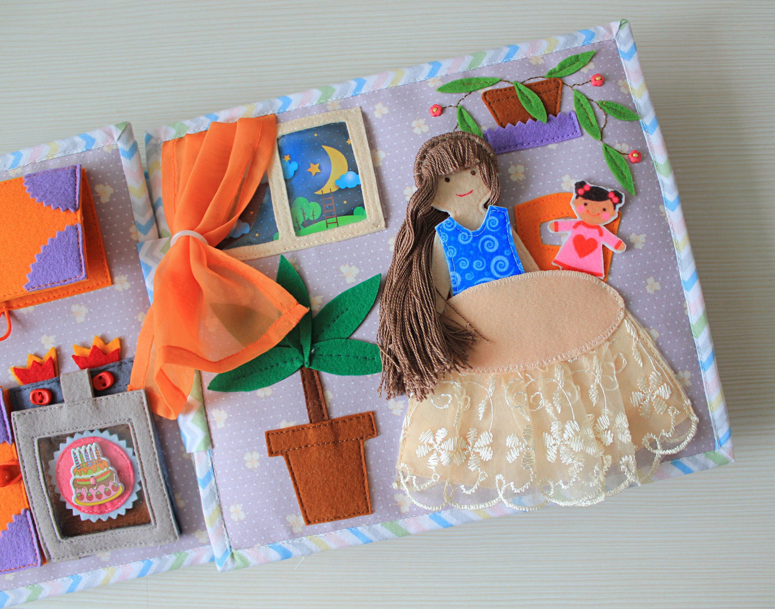 Quiet Book Doll House Felt Book For Girl Felt Doll With Clothes