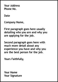 simple cover letter sample for job application