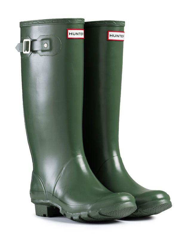 Women/'s Hunter Huntress Rubber Rain Boots Black Gloss Finish Extended Calf Comfy