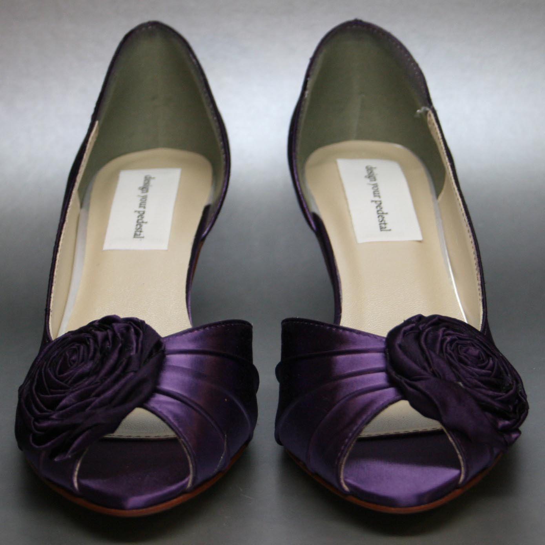 Purple Kitten Heel Bridal Shoes Purple Wedding Shoes Purple