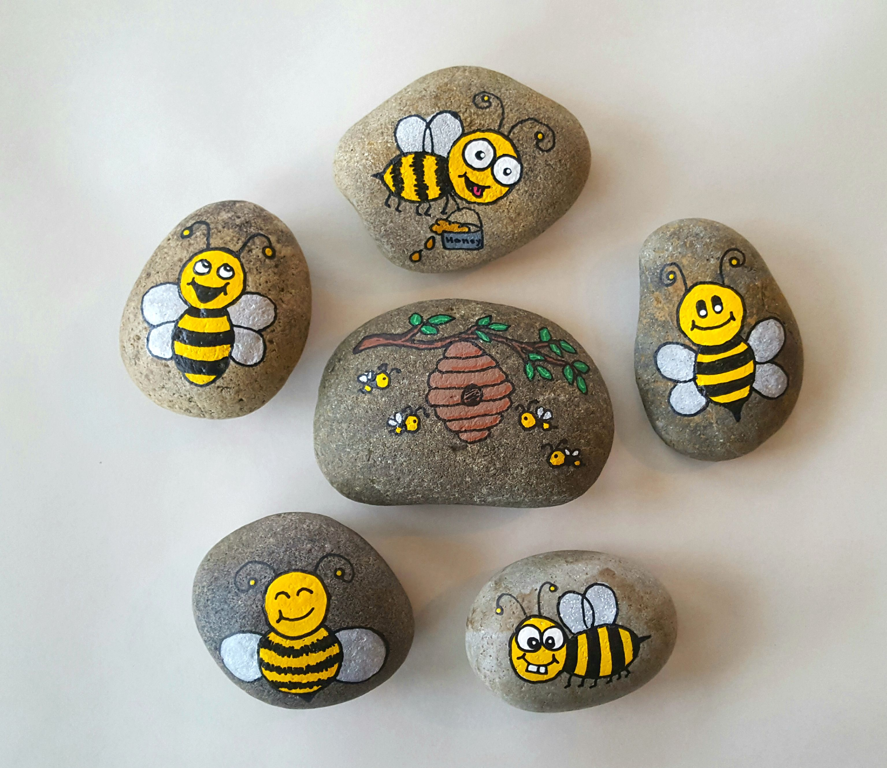 Bees Painted Rocks Bee Painting Painted Rock Animals Painted Rocks