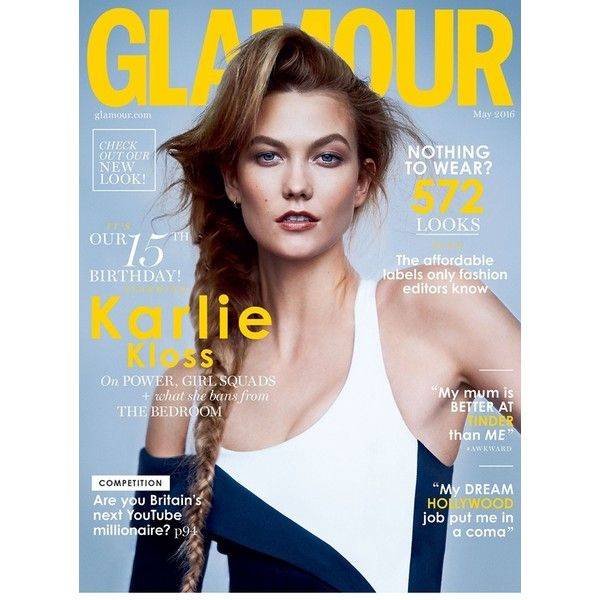 Karlie-Kloss-glamour_cover_may2016_pr_b.jpg 720×1,080 pixels ❤ liked on Polyvore featuring magazine