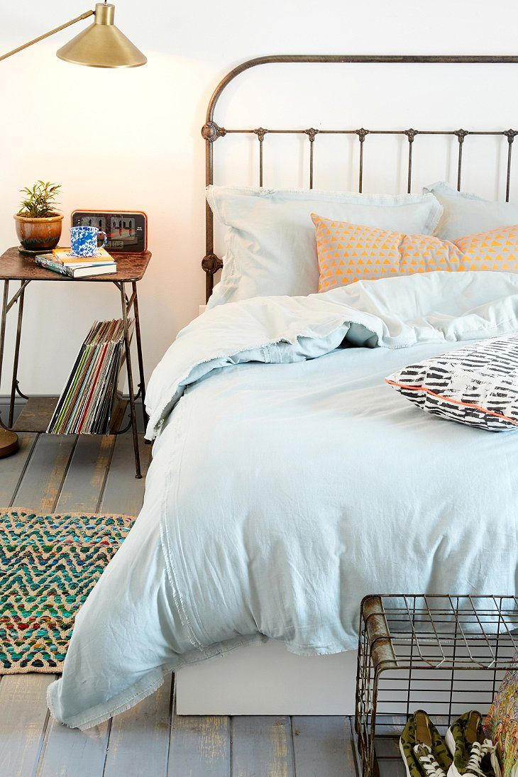 Bedspread design ideas - 4040 Locust Frayed Edge Duvet Cover Urban Outfitters Simple Bright Bedspread You