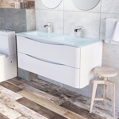 Eaton Gloss White Bathroom Storage Wall Hung Double Glass Sink Vanity Unit 120cm Ebay White Bathroom Storage Vanity Units Basin Vanity Unit
