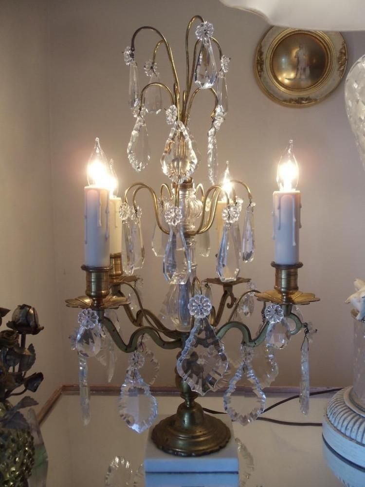 Antique Vtg French Brass Crystal Chandelier Girandole Candelabra
