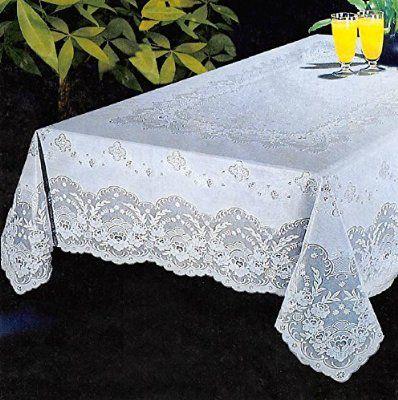 "Luxury Lace Vinyl Tablecloth 52"" X 70"" 90"" 104"" Oblong"