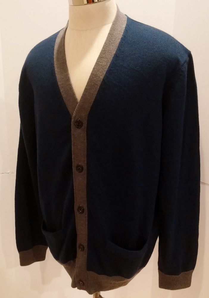 Austin Reed London Mens Merino Wool Cardingan Sweater Navy Blue Gray Size Xl New Austinreed Cardigan