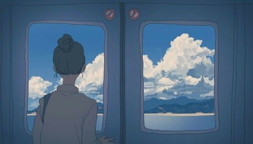 Aesthetic anime girl and blue image l u ghim pinterest for Balcony aesthetic