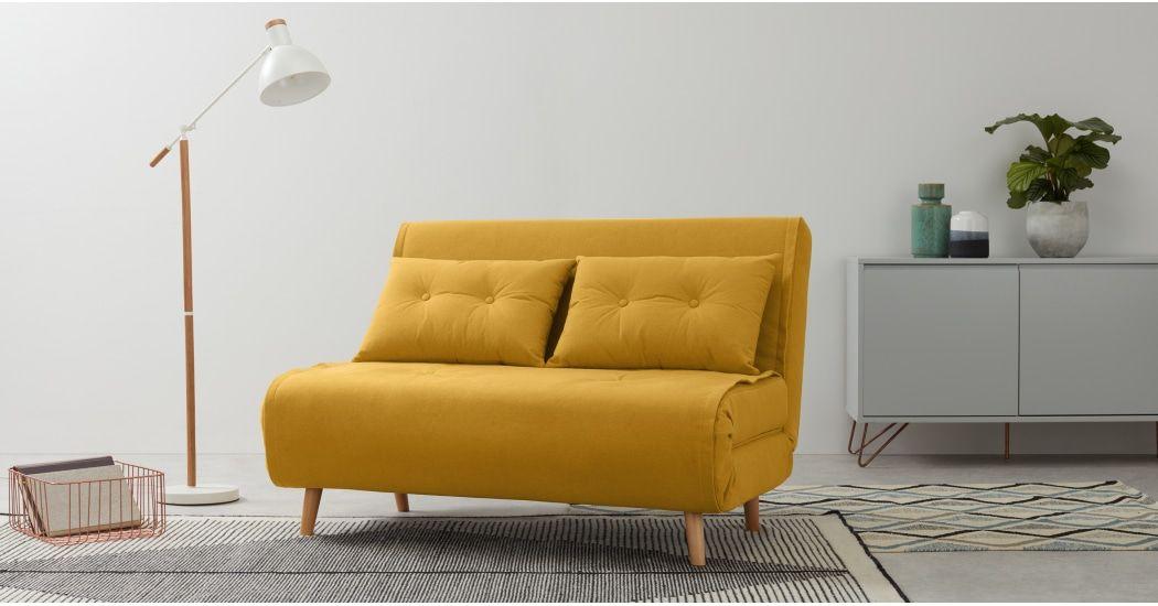 Sofa Cama Pequeno Haru En Amarillo Caramelo Small Sofa Sofa Bed Design Sofa Bed