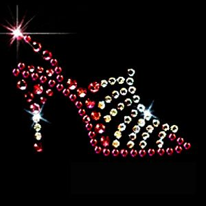 Charming crystal shoe transfers