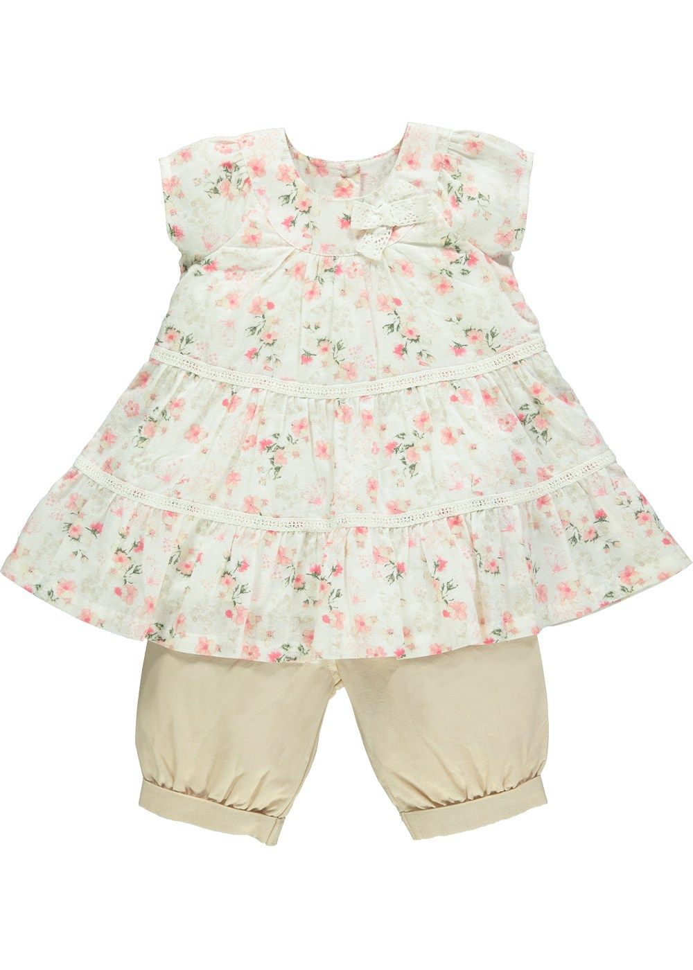 Girls Floral Print Top and Chambray Trousers Set (3mths-5yrs) - Matalan £10