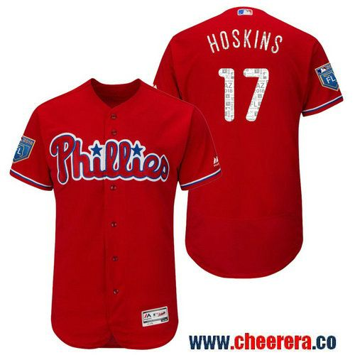 mens philadelphia phillies rhys hoskins majestic scarlet 2018 spring training flex base player jersey