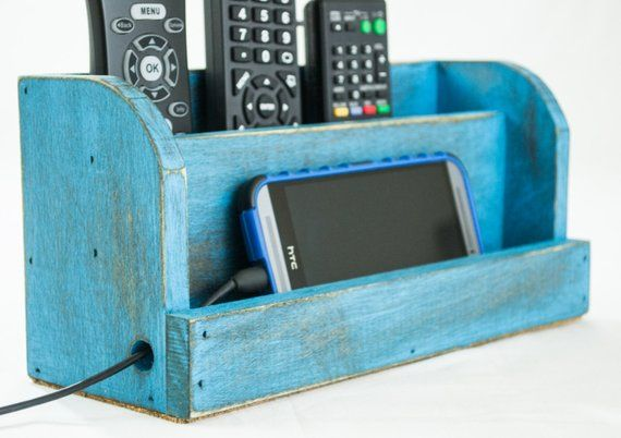 Distressed Blue Wood Docking Station and TV Remote Control