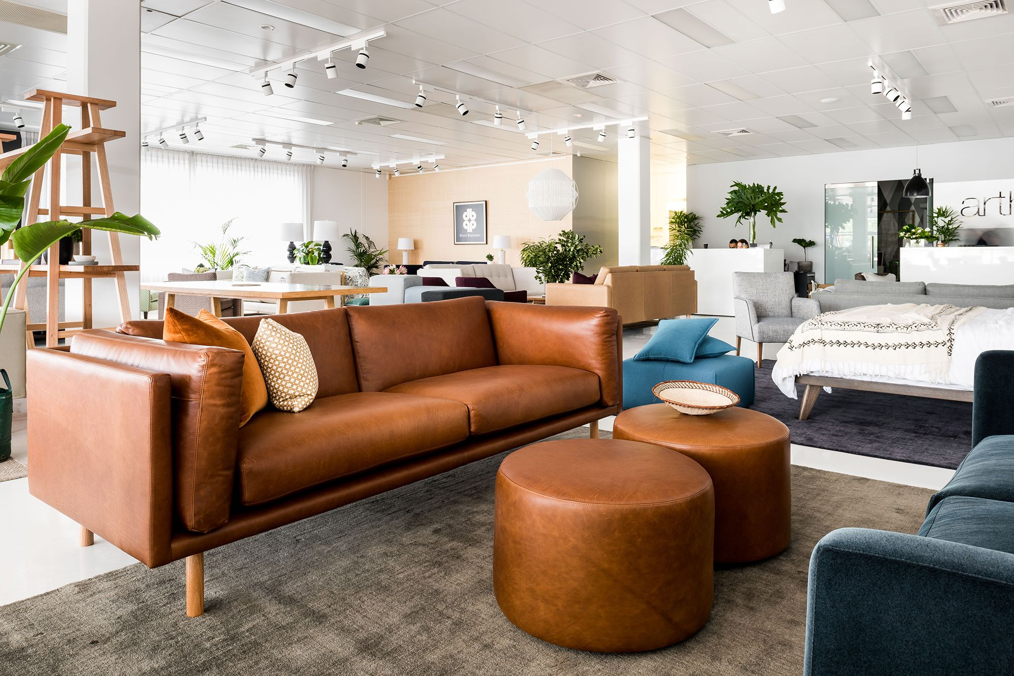 The Stunning Conrad Sofa In New Zealand Leather Accompanied By A Pair Of Arty Ottomans Inside Our Perth Show Sofas For Small Spaces Furniture Design Furniture