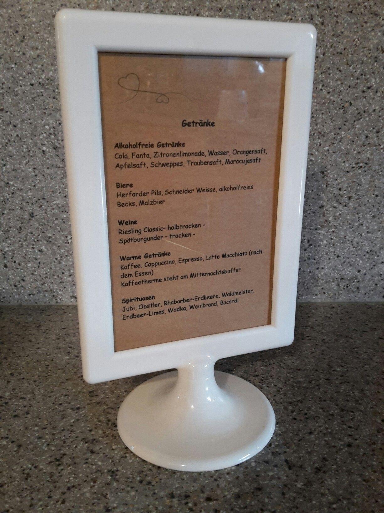 Ikea-Bilderrahmen als Getränkekarte bei unserer Hochzeit   Ideen zur ...