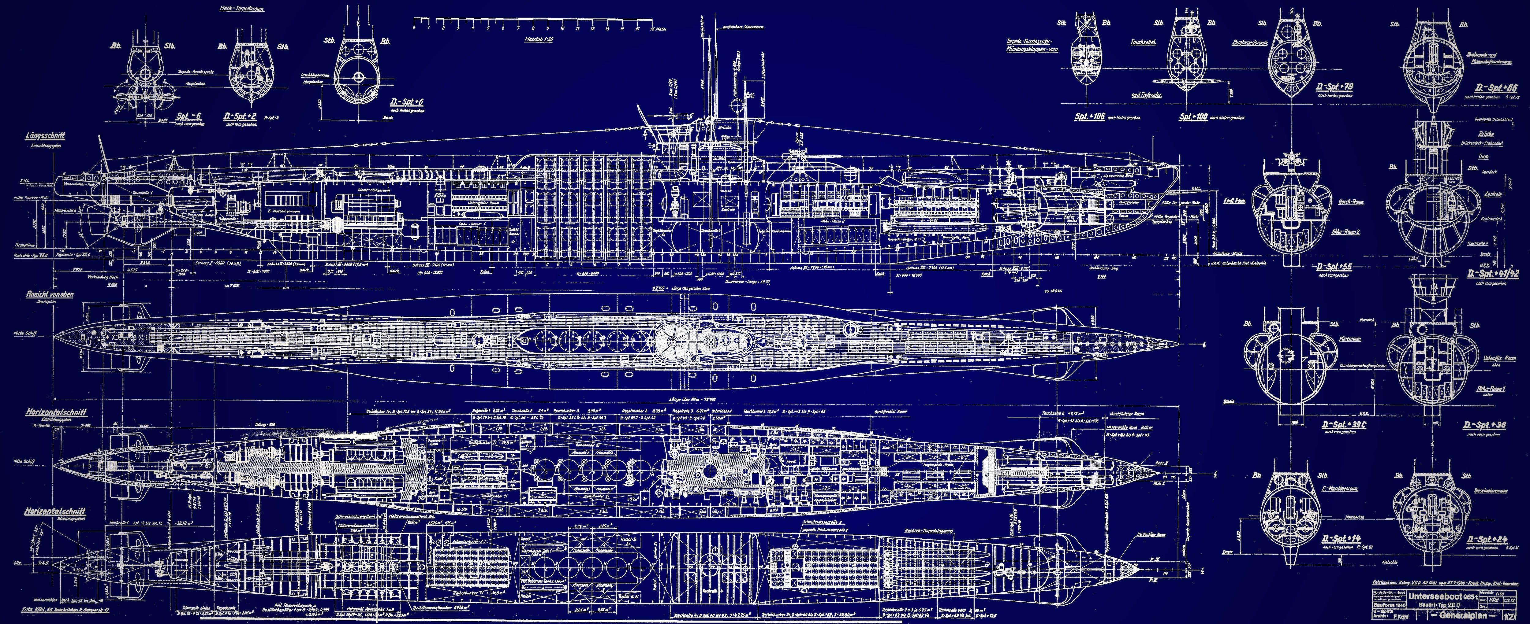 German-UBoat-Submarine-Blueprints-Original.jpg 5,000×2,041 pixels ...