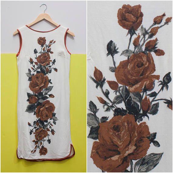 2fcda88921 1960s Brown Rose Shift Dress    Cotton Linen White Brown Shell ...