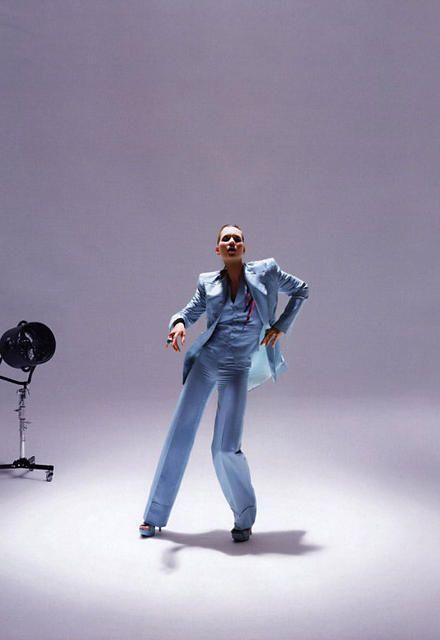 Vogue 2009 Kate Moss vintage Bowie three piece blue suit by Freddie Burretti  1973