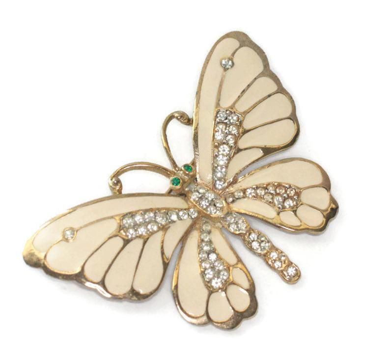 Retro Butterfly Rhinestone Crystal Fashion Enamel Brooch Pin Womens Jewellery 8C