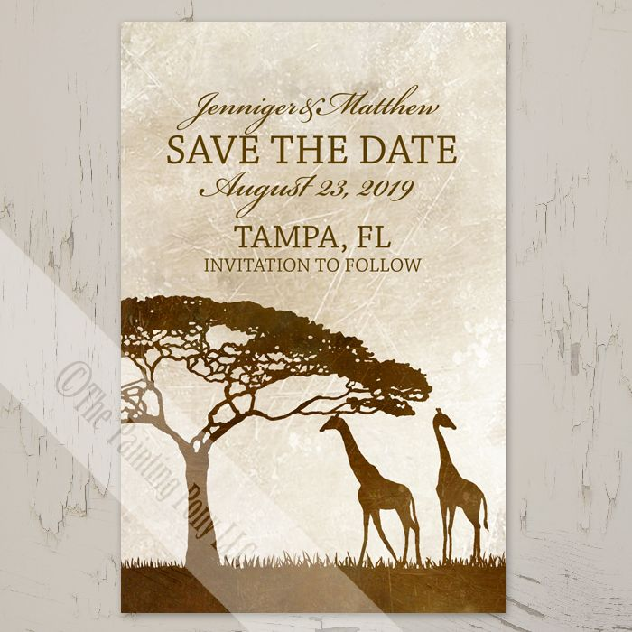 African Giraffes Save The Date Postcards 25 pk African giraffe