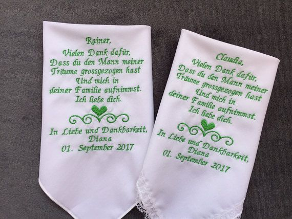 German Version For Groom Parents Gifts Wedding Handkerchief