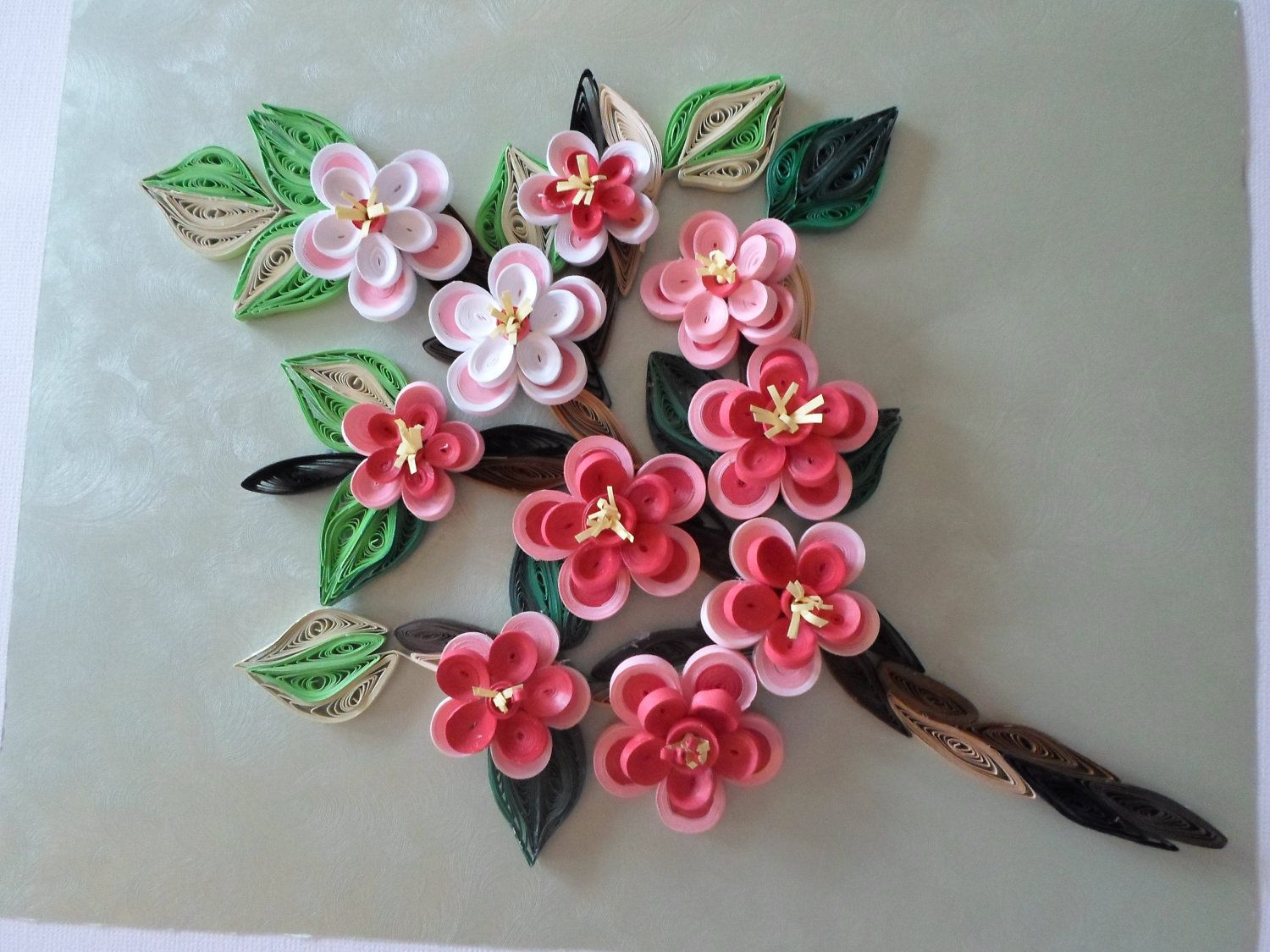 Shabby shic wall decor cherry blossom home decor quilled flowers