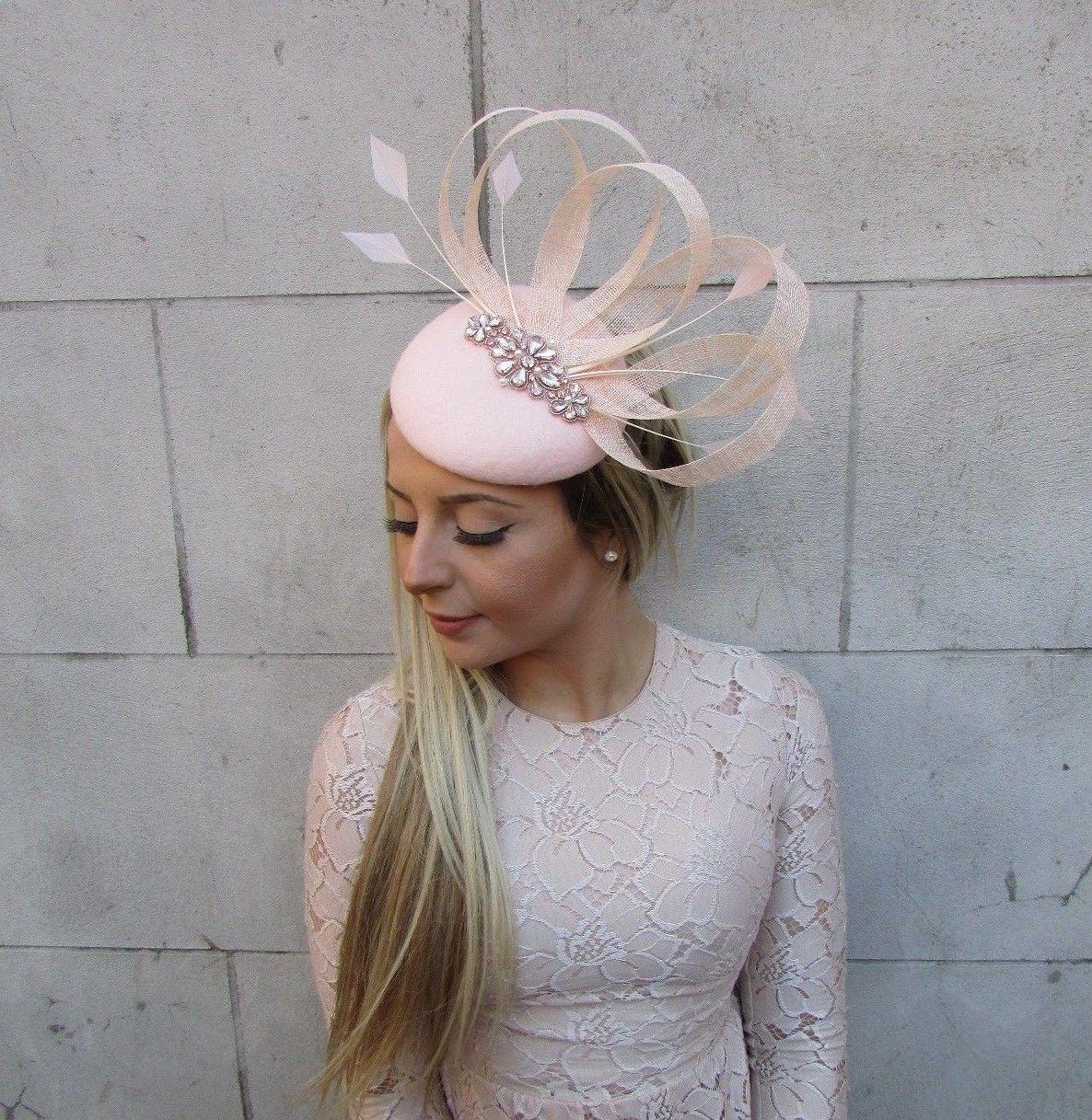 Blush Light Pink Rose Gold Felt Feather Pillbox Hat Races Ascot Fascinator 5177 | eBay