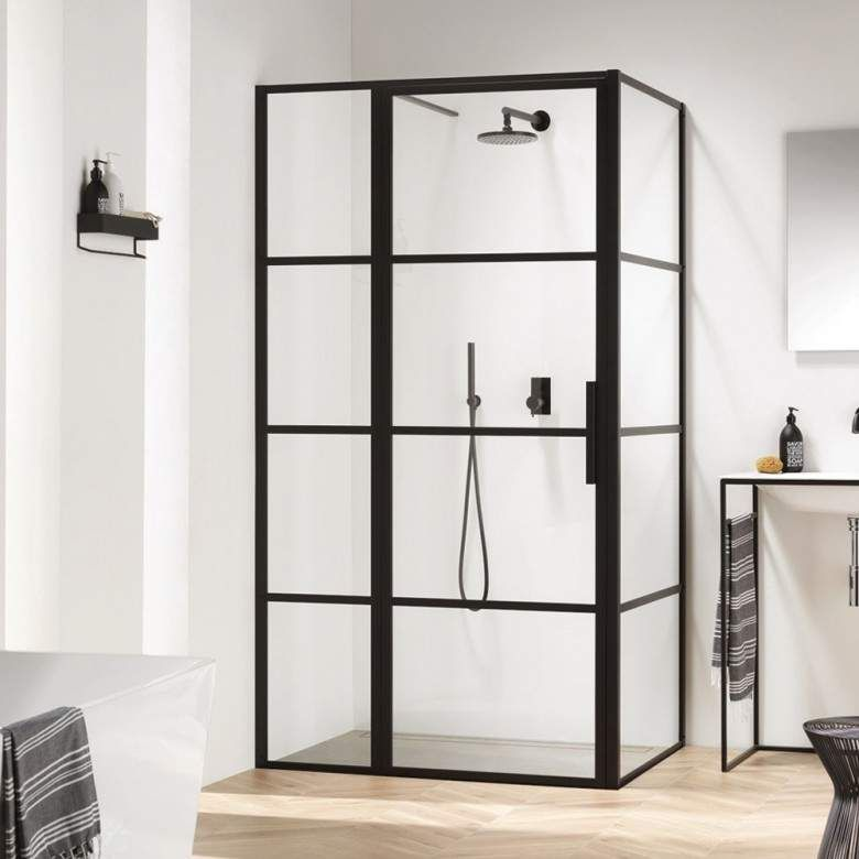 Harbour Status Matt Black Framed Easy Clean 8mm Pivot Crittal Shower Door With Inline Panel