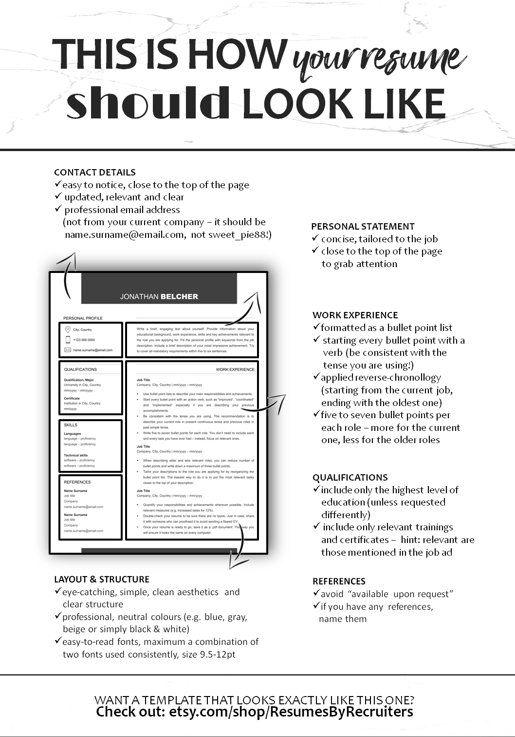 how your cv should look like  professional  well